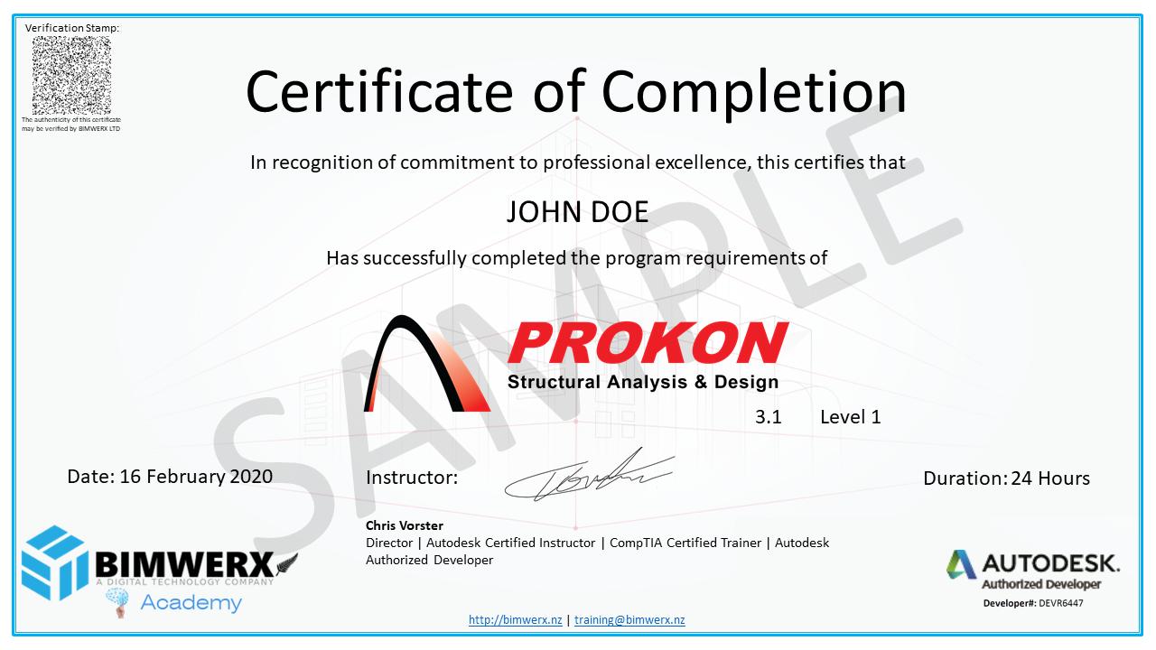 Sample Prokon Certificate