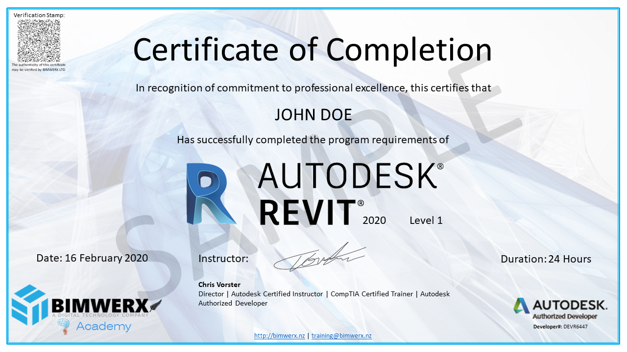 Sample Revit certificate